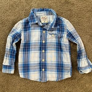 Toddler boys Lucky Brand 3T blue plaid button down